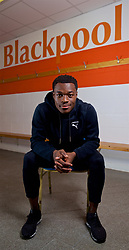 BLACKPOOL, ENGLAND - Thursday, October 25, 2018: Blackpool FC's Marc Bola poses for a portrait in the team's dressing room at Bloomfield Road ahead of the Football League Cup clash against his former club Arsenal. (Pic by David Rawcliffe/Propaganda)
