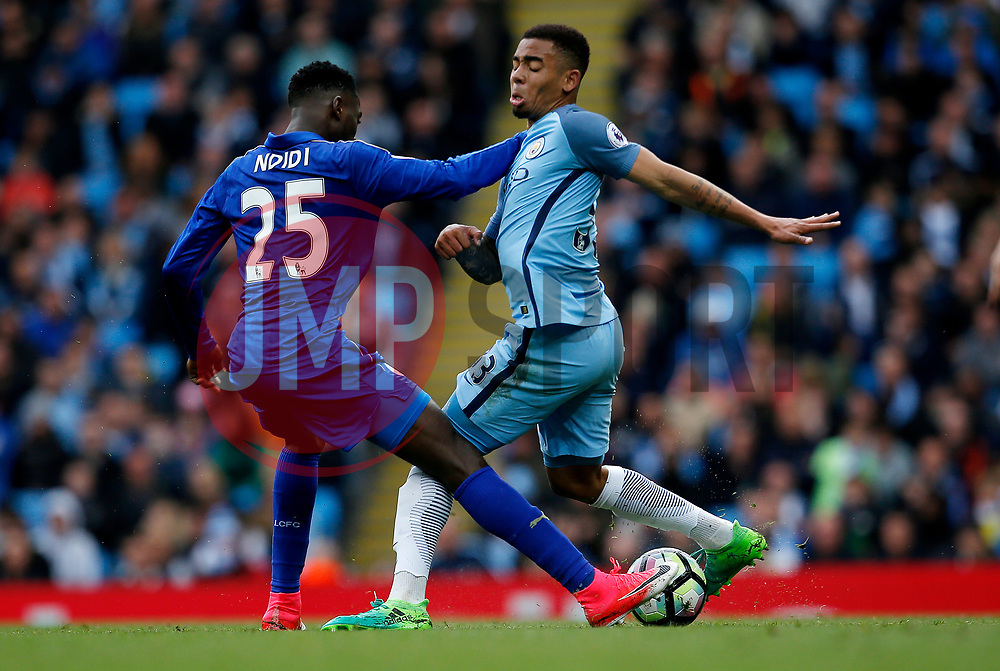 Wilfred Ndidi of Leicester City challenges Gabriel Jesus of Manchester City - Mandatory by-line: Matt McNulty/JMP - 13/05/2017 - FOOTBALL - Etihad Stadium - Manchester, England - Manchester City v Leicester City - Premier League