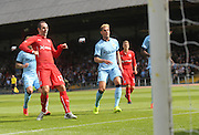 Gary Harkins watches his shot hit the back of the net - Dundee v Manchester City  at Dens Park<br />