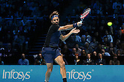 Roger Federer with an attacking forehand during the final of the ATP World Tour Finals between Roger Federer of Switzerland and Novak Djokovic at the O2 Arena, London, United Kingdom on 22 November 2015. Photo by Phil Duncan.