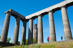The Nelson Monument and National Monument on Calton Hill in Edinburgh, Scotland, United Kingdom