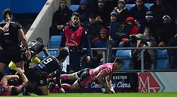 Nic White of Exeter Chiefs scores in the corner  - Mandatory by-line: Alex Davidson/JMP - 13/01/2018 - RUGBY - Sandy Park Stadium - Exeter, England - Exeter Chiefs v Montpellier - European Rugby Champions Cup