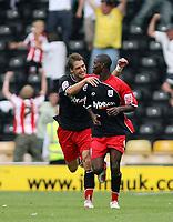 Photo: Rich Eaton.<br /> <br /> Derby County v Southampton. Coca Cola Championship.<br /> <br /> 06/08/2006. Bradley Wright-Philips (rt) celebrates scoring for Southampton