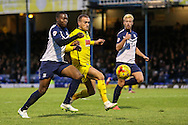 Lewis Alessandra of Plymouth Argyle mounts an attack on the Southend United goal under pressure from Jerome Williams of Southend United (left) during the Sky Bet League 2 match at Roots Hall, Southend<br /> Picture by David Horn/Focus Images Ltd +44 7545 970036<br /> 10/01/2015