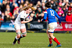 Catherine O'Donnell of England Women takes on Gabrielle Vernier of France Women - Mandatory by-line: Robbie Stephenson/JMP - 10/02/2019 - RUGBY - Castle Park - Doncaster, England - England Women v France Women - Women's Six Nations