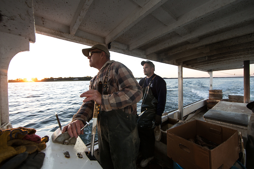 Captain Richard and Ryan Ribb looking for their crab traps in the Chesapeake Bay | October 11, 2015