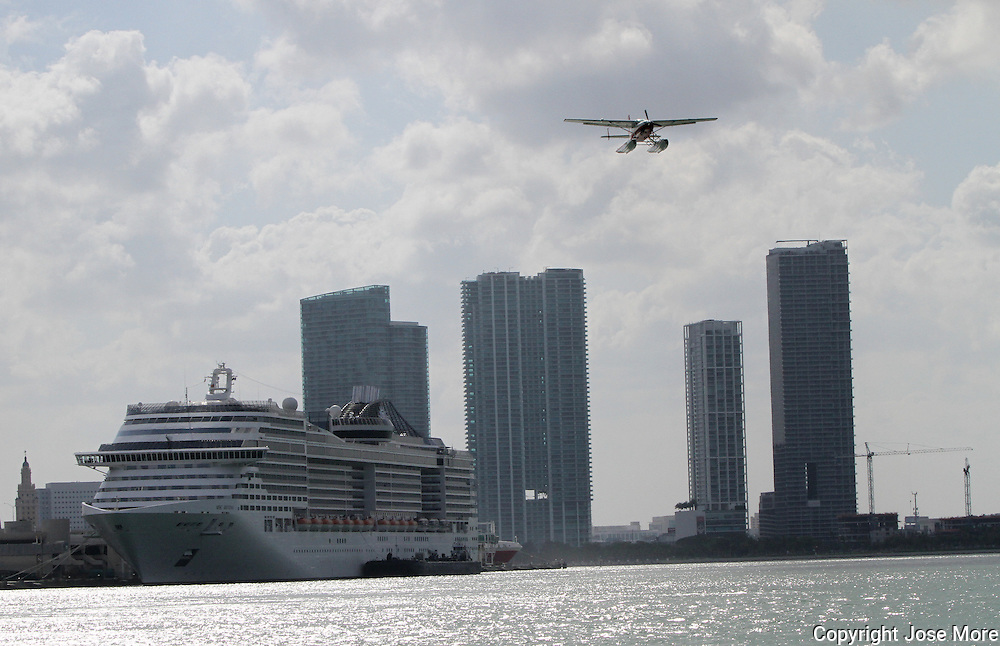 A sea plane takes off from the Port of Miami. <br /> Photography by Jose More