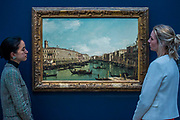The Grand Canal, looking north from near the Rialto Bridge, by Bernardo Bellotto est. £2-3 million  - London Old Masters Evening sale exhibition at Sotheby's New Bond Street. The sale takes palce on 6 December 2017 covers 400 years of art history.