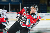 KELOWNA, CANADA - NOVEMBER 8: Devante Stephens #21 of Kelowna Rockets warms up against the Vancouver Giants on November 8, 2014 at Prospera Place in Kelowna, British Columbia, Canada.   (Photo by Marissa Baecker/Shoot the Breeze)  *** Local Caption *** Devante Stephens;