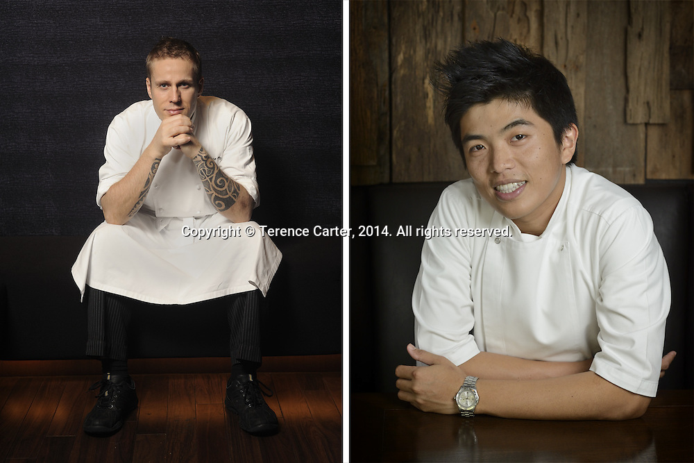 "Chef Morten Nielsen, formerly of Sra Bua By Kiin Kiin, now Dusit International's Group Chef of Thai Cuisine (L). Chef Thitid ""Ton"" Tassanakajohn of Le Du, Bangkok (R). Copyright 2014 Terence Carter / Grantourismo. All Rights Reserved."