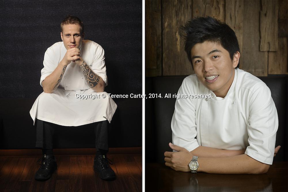 "Chef Morten Nielsen, formerly of Sra Bua By Kiin Kiin, now Dusit International's Group Chef of Thai Cuisine (L). Chef Thitid ""Ton"" Tassanakajohn of Le Du, Bangkok (R). Copyright 2014 Terence Carter / Grantourismo. All Rights Reserved."