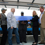 Kansas City Council and Mayor Sly James at ribbon cutting event for the first completed streetcar platform at 16th & Main Streets in downtown KCMO.