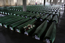 60104826  Remains of 409 newly identified victims of Srebrenica Massacre are seen in Memorial Center Potocari , near by Srebrenica, Bosnia-Herzegovina, on July 10, 2013. A huge funeral will be held on July 11. More than 7,000 Bosnian Muslim men and boys were massacred in Srebrenica in July 1995 by Bosnian Serb forces and a paramilitary unit from Serbia, picture taken Wednesday, July 10, 2013.<br /> Photo by imago / i-Images
