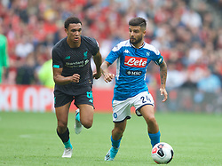 EDINBURGH, SCOTLAND - Sunday, July 28, 2019: SSC Napoli's captain Lorenzo Insigne (R) and Liverpool's Trent Alexander-Arnold during a pre-season friendly match between Liverpool FC and SSC Napoli at Murrayfield Stadium. (Pic by David Rawcliffe/Propaganda)