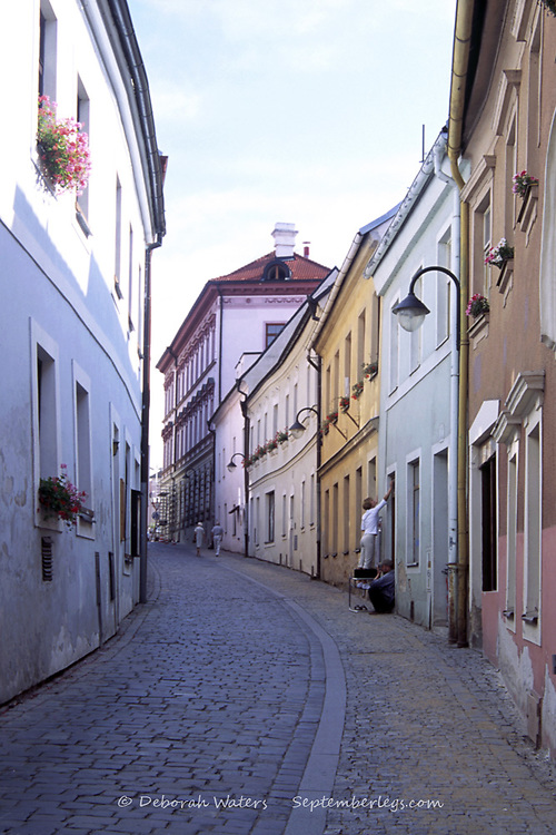 Colouful buildings and daily life in a cobbled shady street of the Old Town, Tabor, Southern Bohemia, Czech Republic
