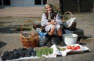 Selling fruit at Uzhgorod's outdoor market