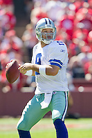 18 September 2011: Quarterback (9) Tony Romo of the Dallas Cowboys passes the ball against the San Francisco 49ers during the first half of the Cowboys 27-24 overtime victory against the 49ers in an NFL football game at Candlestick Park in San Francisco, CA.