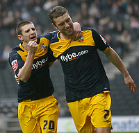 Photo: Steve Bond/Richard Lane Photography. MK Dons v Southampton. Coca-Cola Football League One. 20/03/2010. Rickie Lambert (R) celebrates with Adam Lallana