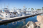 Boats Docked At Rainbow Harbor In Long Beach California