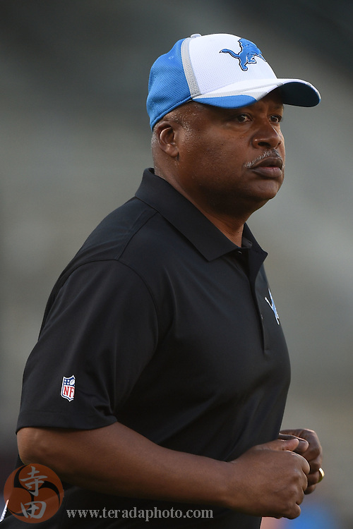 August 15, 2014; Oakland, CA, USA; Detroit Lions head coach Jim Caldwell before the game against the Oakland Raiders at O.co Coliseum.