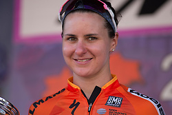 Megan Guarnier (USA) of Boels-Dolmans Cycling Team celebrates her third place on Stage 8 of the Giro Rosa - a 141.8 km road race, between Baronissi and Centola fraz. Palinuro on July 7, 2017, in Salerno, Italy. (Photo by Balint Hamvas/Velofocus.com)