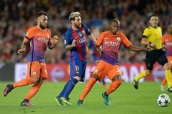 Lionel Messi of Barcelona is challenged by Fernandinho of Manchester City  - Mandatory by-line: Dougie Allward/JMP - 19/10/2016 - FOOTBALL - Camp Nou - Barcelona, Catalonia - FC Barcelona v Manchester City - UEFA Champions League