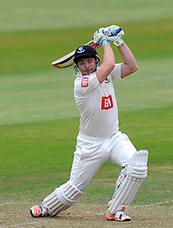 Sussex's Luke Wright drives the ball. - Photo mandatory by-line: Harry Trump/JMP - Mobile: 07966 386802 - 06/07/15 - SPORT - CRICKET - LVCC - County Championship Division One - Somerset v Sussex- Day Two - The County Ground, Taunton, England.