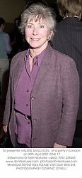 TV presenter VALERIE SINGLETON,  at a party in London on 30th April 2001.ONK 17