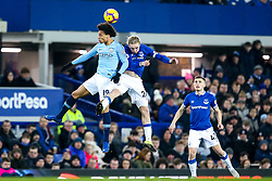 Leroy Sane of Manchester City challenges Tom Davies of Everton - Mandatory by-line: Robbie Stephenson/JMP - 06/02/2019 - FOOTBALL - Goodison Park - Liverpool, England - Everton v Manchester City - Premier League