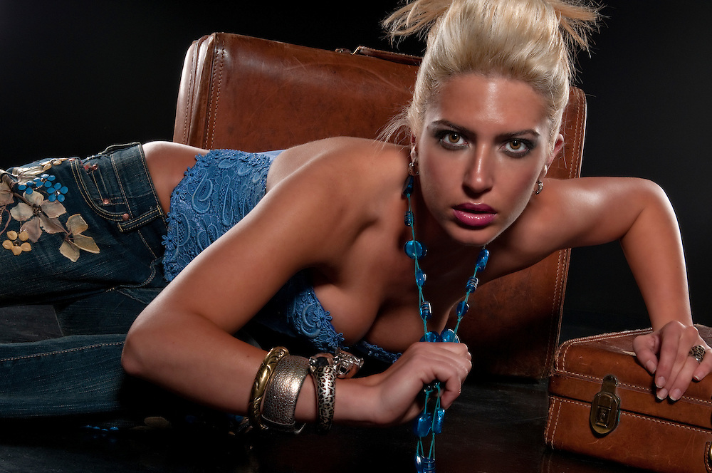 Sexy model very trendy looking very intense.