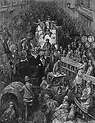 A City Thoroughfare': From Gustave Dore and Blanchard Jerrold 'London: A Pilgrimage' London 1872.  Scene of chaotic traffic congestion with a London policeman trying to get vehicles moving. Wood engraving .
