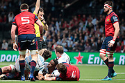 Yannick NYANGA KABASELE (Racing Metro 92) scored a try during the European Rugby Champions Cup, Pool 4, Rugby Union match between Racing 92 and Munster Rugby on January 14, 2018 at U Arena stadium in Nanterre, France - Photo Stephane Allaman / ProSportsImages / DPPI