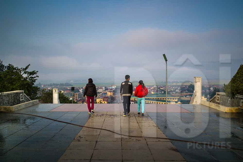 Tourists on Hill D1 'Dominique 2' in Dien Bien Phu City, Muong Thanh Valley, Dien Bien Province, Vietnam, Southeast Asia