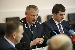 May 22, 2018 - Kiev, Ukraine - National Police of Ukraine head chief Serhiy Knyazev (C) talks to media during the press conference in Kyiv, Ukraine, May 22, 2018. Ukrainian police in cooperation with Specialized Anti-Corruption Prosecutor's Office (SAPO) investigate the case on match-fixing by referees, FC's presidents and top management of National Football Federation. (Credit Image: © Sergii Kharchenko/NurPhoto via ZUMA Press)