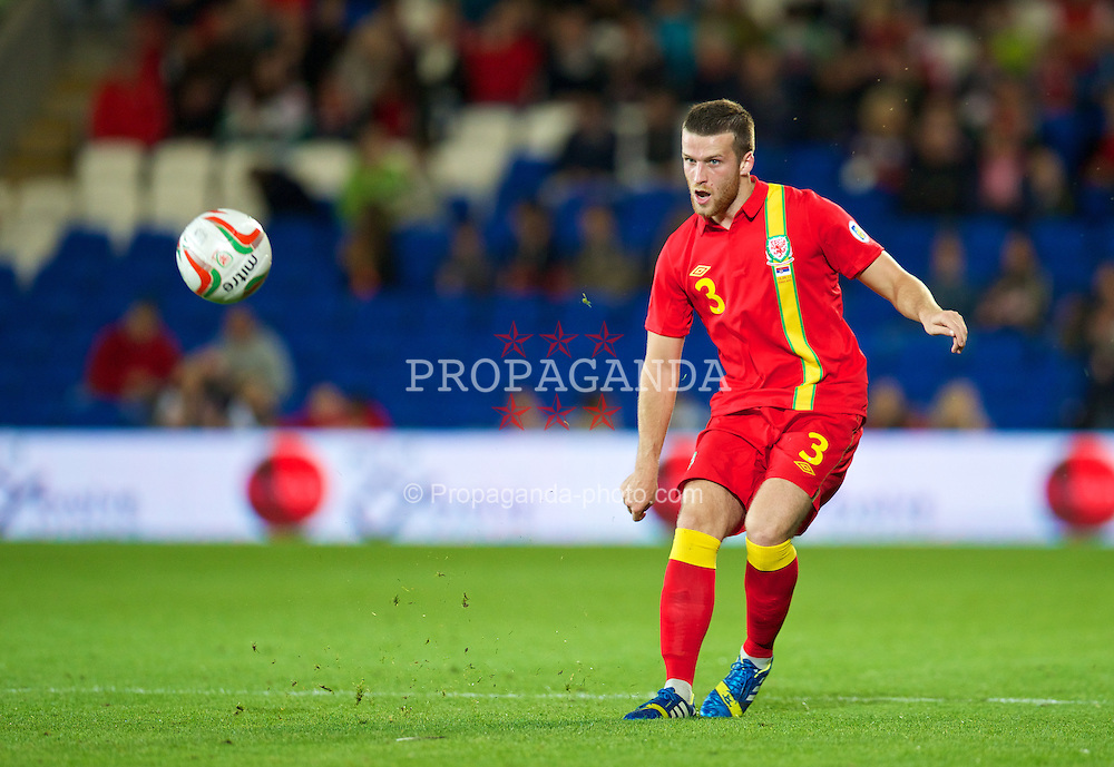 CARDIFF, WALES - Tuesday, September 10, 2013: Wales' Adam Matthews in action against Serbia during the 2014 FIFA World Cup Brazil Qualifying Group A match at the Cardiff CIty Stadium. (Pic by David Rawcliffe/Propaganda)