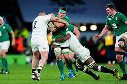 Jamie Heaslip of Ireland takes on the England defence - Mandatory byline: Patrick Khachfe/JMP - 07966 386802 - 27/02/2016 - RUGBY UNION - Twickenham Stadium - London, England - England v Ireland - RBS Six Nations.
