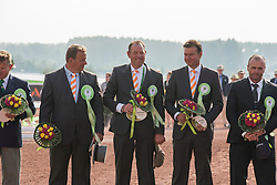 Prizegiving dressage driving, Team NetherlandsTheo Timmerman, IJsbrand Chardon, Koos De Ronde - Driving dressage day 2 - Alltech FEI World Equestrian Games™ 2014 - Normandy, France.<br /> © Hippo Foto Team - Dirk Caremans<br /> 05/09/14