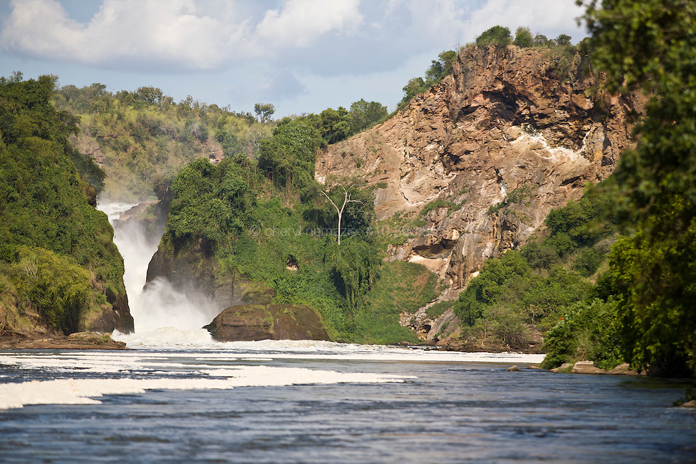 The mighty Nile River descends a narrow path at Murchison Falls in Uganda.
