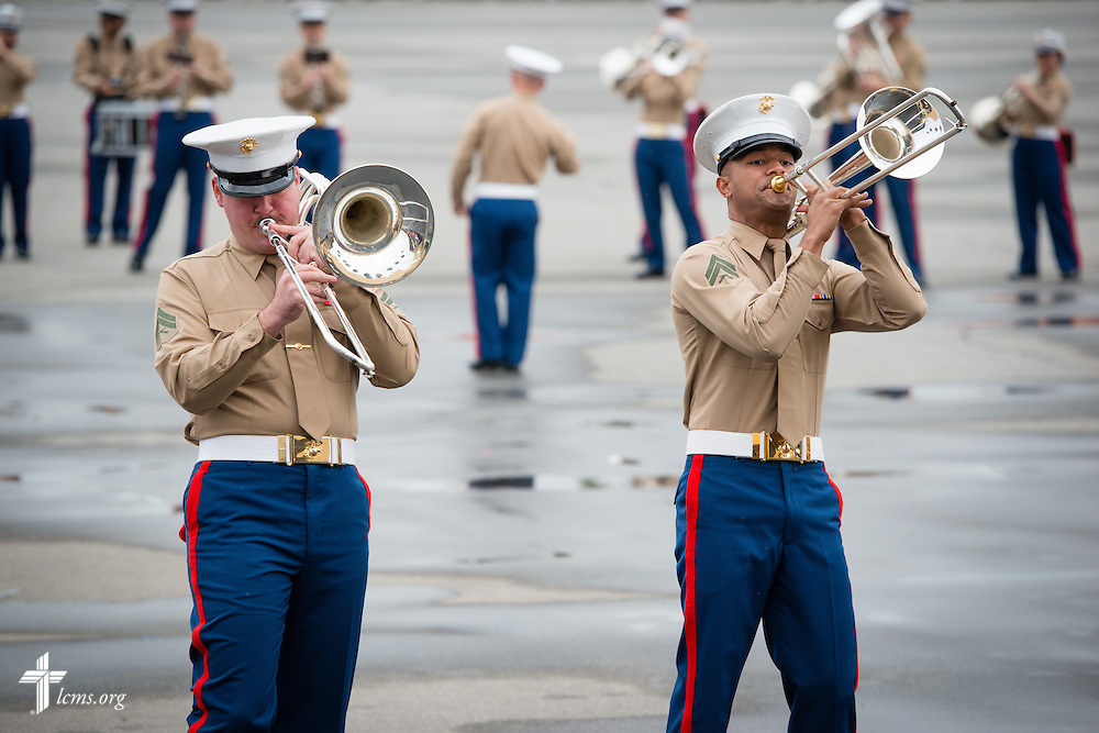 Marine Band San Diego entertains the crowd during recruit graduation at the Marine Corps Recruit Depot on Friday, Jan. 30, 2015, in San Diego, Calif. LCMS Communications/Erik M. Lunsford