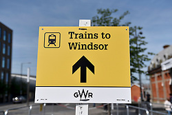 © Licensed to London News Pictures. 18/05/2018. LONDON, UK.  Barriers are in place outside Slough station to manage the tens of thousands of people who are expected to travel to Windsor by train via Slough ahead of the wedding between Prince Harry and Meghan Markle on 19 May.  Photo credit: Stephen Chung/LNP