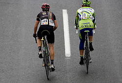 Maciej Bodnar   (POL) of Liquigas (R) and Alessandro Raisoni (ITA) of Carmiooro - A Style  Uphill to Kozjak at 3rd stage of Tour de Slovenie 2009 from Lenart to Krvavec, 175 km, on June 20 2009, Slovenia. (Photo by Vid Ponikvar / Sportida)