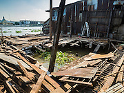 16 OCTOBER 2015 - BANGKOK, THAILAND: The site of what used to be a home in the Wat Kalayanamit neighborhood. Fifty-four homes around Wat Kalayanamit, a historic Buddhist temple on the Chao Phraya River in the Thonburi section of Bangkok, are being razed and the residents evicted to make way for new development at the temple. The abbot of the temple said he was evicting the residents, who have lived on the temple grounds for generations, because their homes are unsafe and because he wants to improve the temple grounds. The evictions are a part of a Bangkok trend, especially along the Chao Phraya River and BTS light rail lines. Low income people are being evicted from their long time homes to make way for urban renewal.    PHOTO BY JACK KURTZ