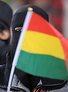 A female Ghana fan wearing a burka  during the 2010 FIFA World Cup South Africa Quarter Final match between Uruguay and Ghana at the Soccer City stadium on July 2, 2010 in Johannesburg, South Africa.
