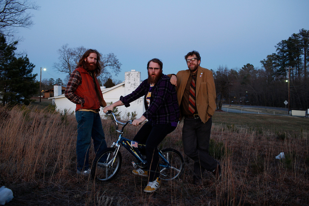 Megafaun (Brad Cook, Phil Cook, Joe Westerlund) promotional photo, February 2010, Durham, North Carolina.