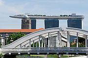 Singapore. North Bridge and Marina Bay Sands Hotel.