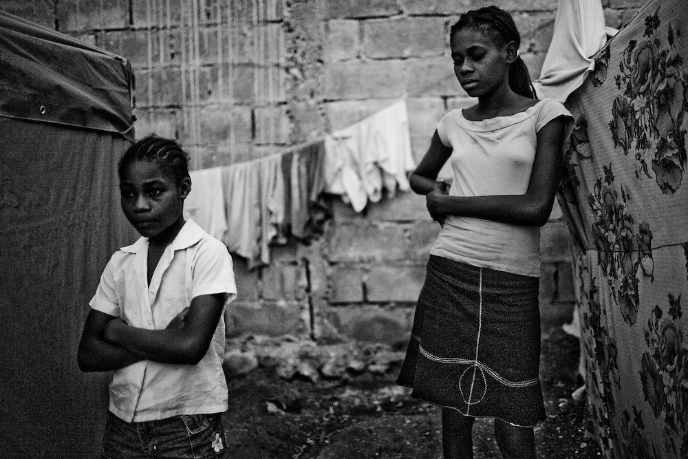 Girls in a camp for those displaced by the recent earthquake in Petionville, outside Port-au-Prince, Haiti.