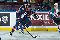 KELOWNA, CANADA - DECEMBER 27: Jermaine Loewen #32 of the Kamloops Blazers skates with the puck against the Kelowna Rockets on December 27, 2017 at Prospera Place in Kelowna, British Columbia, Canada.  (Photo by Marissa Baecker/Shoot the Breeze)  *** Local Caption ***