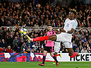 Tammy Abraham of England hits the post during the U21 UEFA EURO first qualifying round match between England and Scotland at the Riverside Stadium, Middlesbrough, England on 6 October 2017. Photo by Paul Thompson.