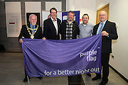 Galway City celebrates purple flag status...<br /> Galway City Council hosted a mayoral reception to celebrate Galway's designation as a Purple Flag City. The city was awarded Purple Flag status earlier this year, following a rigorous application process, in recognition of its safe, vibrant and well-managed town centre in the evening and at night.<br /> Purple Flag is an international accreditation scheme for town and city centres. It is run through the Association of Town and City Management (ATCM) and is the &ldquo;gold standard&rdquo; for night time destinations. A judging panel visited the city last December and, over a 12 hour period from 5 pm &ndash; 5 am, assessed the city using 30 different criteria, including safety, appropriate transport, available services, use of public spaces and vibrant appeal. A comprehensive application form was also submitted. Galway City passed all 30 criteria of the accreditation procedure with commendations. In particular, the city was praised was praised for strong evidence of leadership and business engagement. Mayor of Galway Cllr. Donal Lyons with Cllr Niall McNelis, Mick Crehan Crane Bar, Paul Grealish King's Head and Brendan McGrath - Chief Executive of Galway City Council <br />  Photo:Andrew Downes, XPOSURE