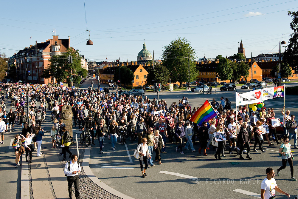 20.09.2013. Copenhagen, Denmark.10.000 people marched to the Russian Embassy in Copenhagen in protest against the Russian gay law. The association To Russia with love call to action and condemnation of the law of propaganda and stigmatization of LGBT people in Russia.Photo: © Ricardo Ramirez